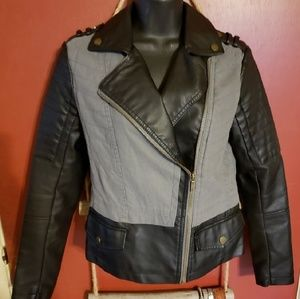 Motorcycle Style Jacket Faux Leather XS